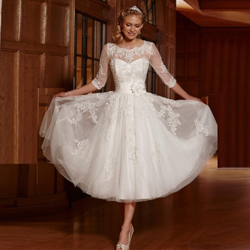 Spring 2016 vintage 3 4 sleeves lace tea length short for Plus size wedding dresses with color and sleeves