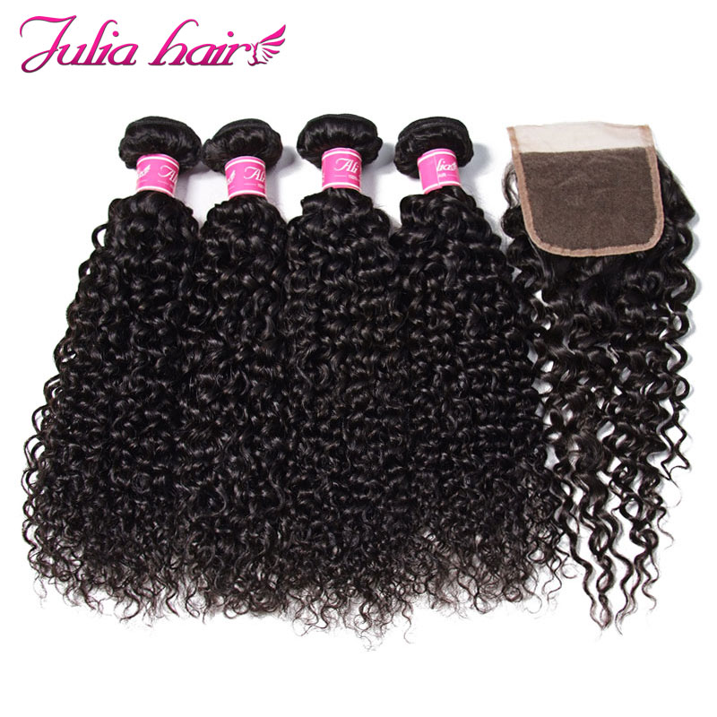 Ali Julia Malaysian Curly Hair Weave Bundles With Closure 4 Bundles 1 Lace Closure Free Middle