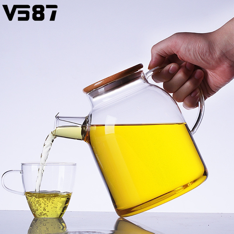Heat Resistant Glass Kettle Water Jug Flower Teapot With Bamboo Lid Stainless Steel Strainer Clear Juice