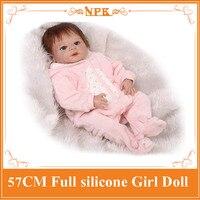57 CM Nieuwe Stijl Hele Siliconen Reborn Bebe Baby Poppen met Magneet Fopspeen Volledige Handgemaakte Pasgeboren Baby Doll Kleding Kids speelgoed