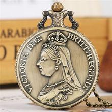 Quartz Pocket Watch Women Queen Victoria the UK Pendent Watches Necklace Chain Classic  Clear Arabic Numerals reloj de bolsillo