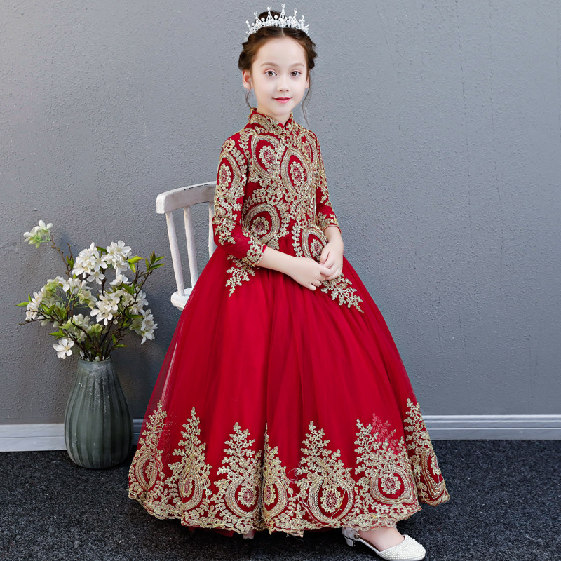 2018 Autumn Winter New luxury Chinese Wind Children Baby Red New Year Birthday Party Long Dress Girls Kids Embroidery Lace Dress2018 Autumn Winter New luxury Chinese Wind Children Baby Red New Year Birthday Party Long Dress Girls Kids Embroidery Lace Dress