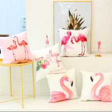 Flamingo American Nordic pillowcase Car cushion ins wind cushion office sofa bedroom cute pillow Home decoration 45x45cm цена