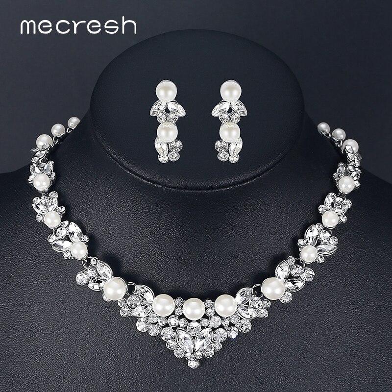 Mecresh Elegante Simulato Perla Bridal Set Argento Colore Foglia Di Cristallo Collane Orecchini Set di Gioielli Da Sposa TL280