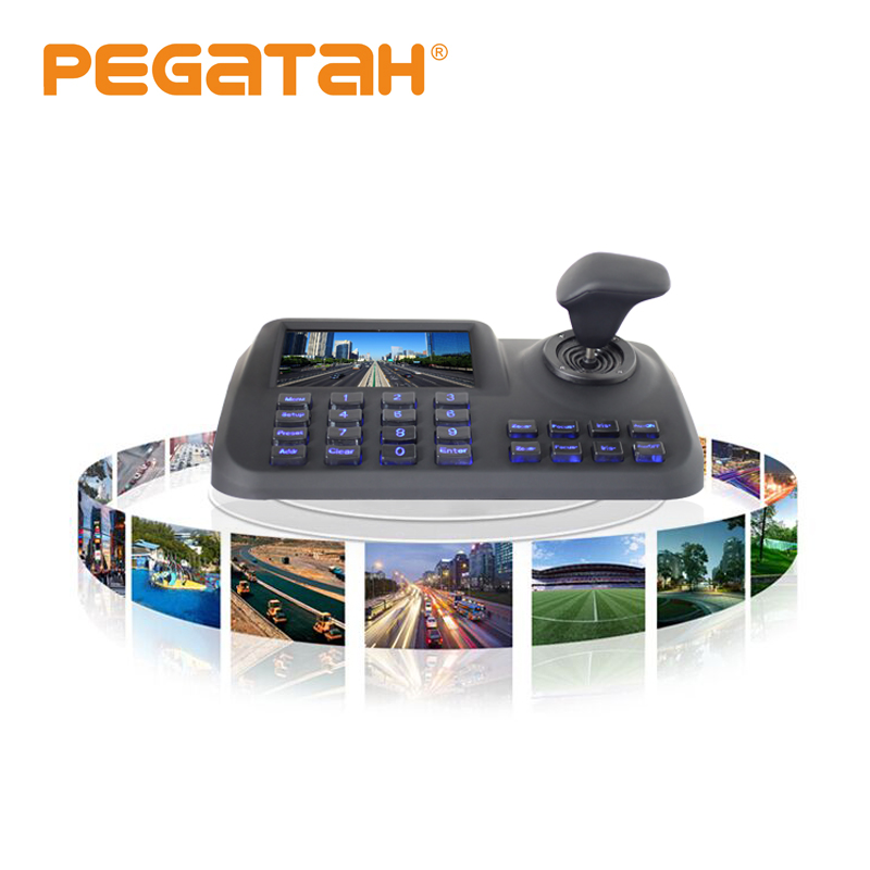 5 inch LCD H.265 screen Onvif 3D CCTV IP PTZ joystick controller keyboard with HDMI USB  for IP PTZ camera  Security
