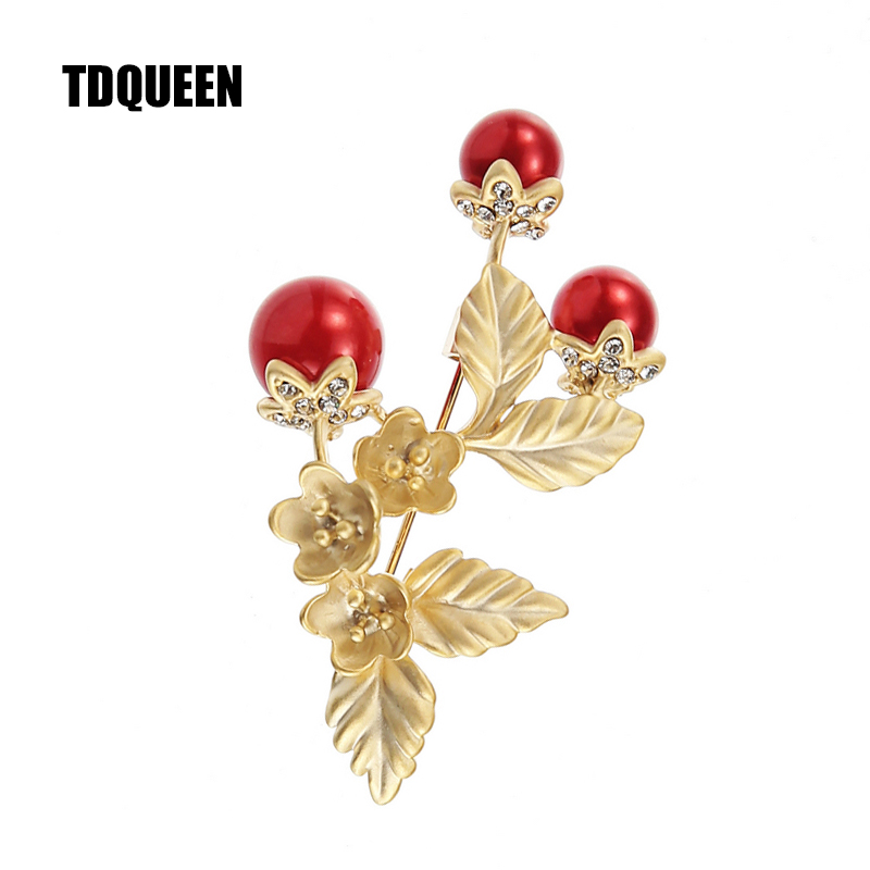 TDQUEEN Brooches Red Simulated Pearl Flower Pins and Brooches Safety Pin Jewelry Zinc Alloy Metal Brooch for Women