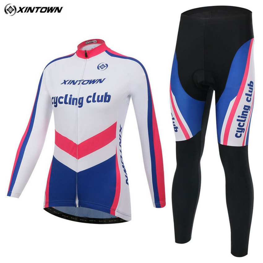 XINTOWN Winter Women Long Sleeve Cycling Jersey Set Maillot Biking Cycling Clothing /Ciclismo Clothing Sportswear
