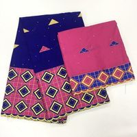 Nigerian African Lace Fabrics High Quality For Women Cotton Lace Fabric With Stones plus 2yards scarf