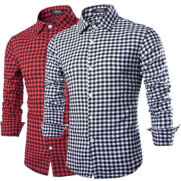 A cuadros rojo y negro camisas de hombre 2015 estilo nueva