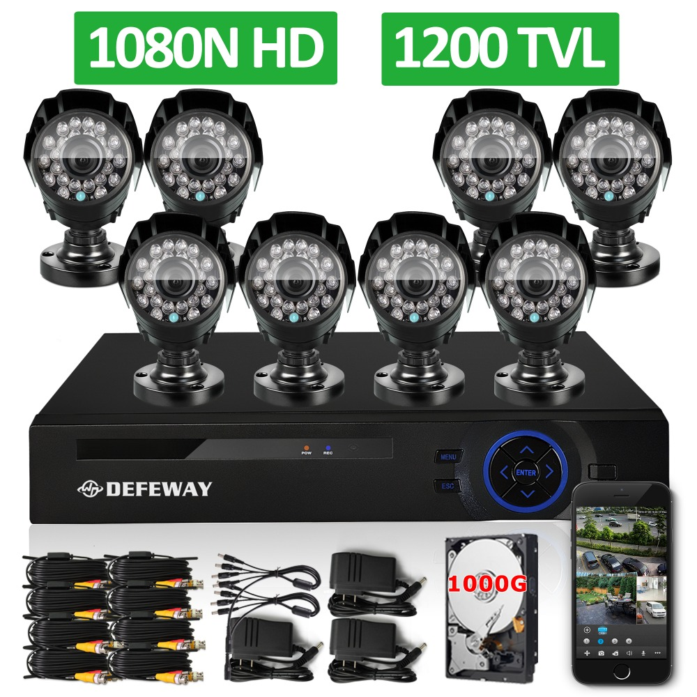 DEFEWAY 1200TVL 720P HD Outdoor font b Security b font Camera System 1TB Hard Drive 8