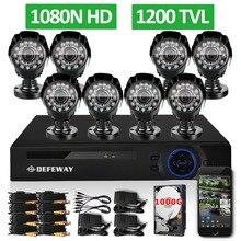 DEFEWAY 1200TVL 720 P HD Al Aire Libre Cámara de Seguridad Sistema de 1 TB de Disco Duro 1080N HDMI de 8 Canales CCTV DVR Kit 8CH AHD Cámara Conjunto