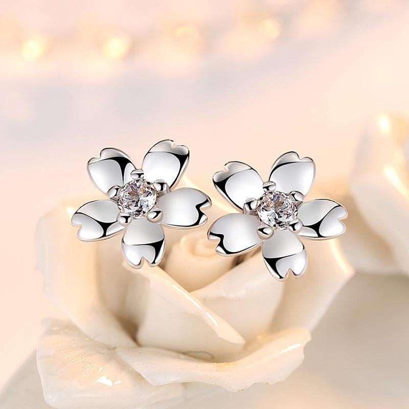 100 925 sterling silver fashion Peach blossom flower ladies stud earrings women jewelry female wedding gift wholesale drop ship in Stud Earrings from Jewelry Accessories