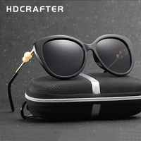 2017 HDCRAFTER Fashion Pearl Polarized Sunglasses Women Luxury Lady Brand Designer Sun Glasses Vintage Elegant Eyewear