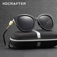 2017 HDCRAFTER Fashion Pearl Polarized Sunglasses Women Luxury Lady Brand Designer Sun Glasses Vintage Elegant Eyewear