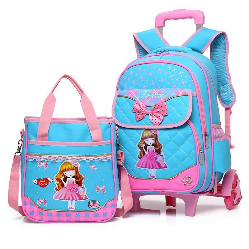 Fashion 2pcs set school backpacks 6 wheels children school bags for girls handbag waterproof cute kids travel trolley bookbag