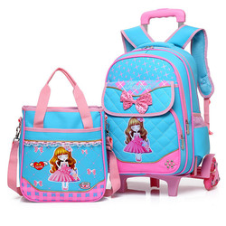 Moda unids 2 piezas set mochilas escolares 6 ruedas niños mochilas escolares para niñas bolso impermeable lindo niños viaje trolley bolsa de libros
