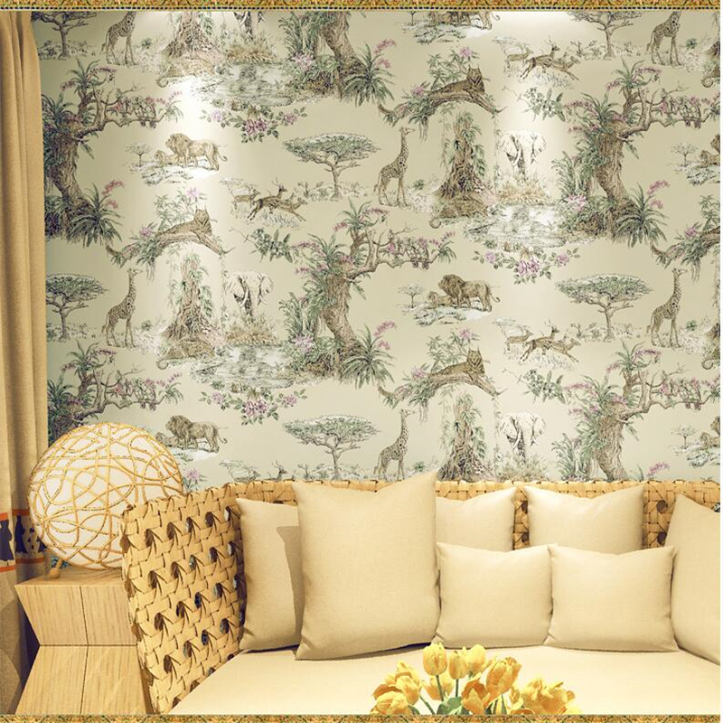 beibehang papel de parede Southeast style elephant giraffe non woven wallpaper living room bedroom bedside background wallpaper stereo style wall paper non woven embroidery like coconut trees in southeast asia an elephant bed bedroom living room background