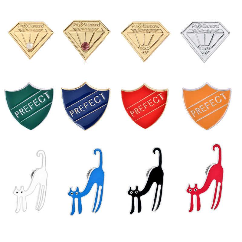 4 Pc/set Enamel Fashion Kreatif Bros Kerah Pin Kucing Lucu Prefek Perisai Denim Topi Wanita Lencana Keluarga Anak-anak Hadiah Koleksi