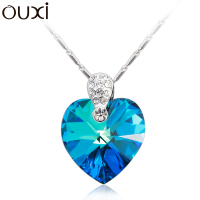 OUXI Exquisite Heart Shaped Blue Crystal Pendant Necklace For Women White Gold Plated Chain Necklace Choker