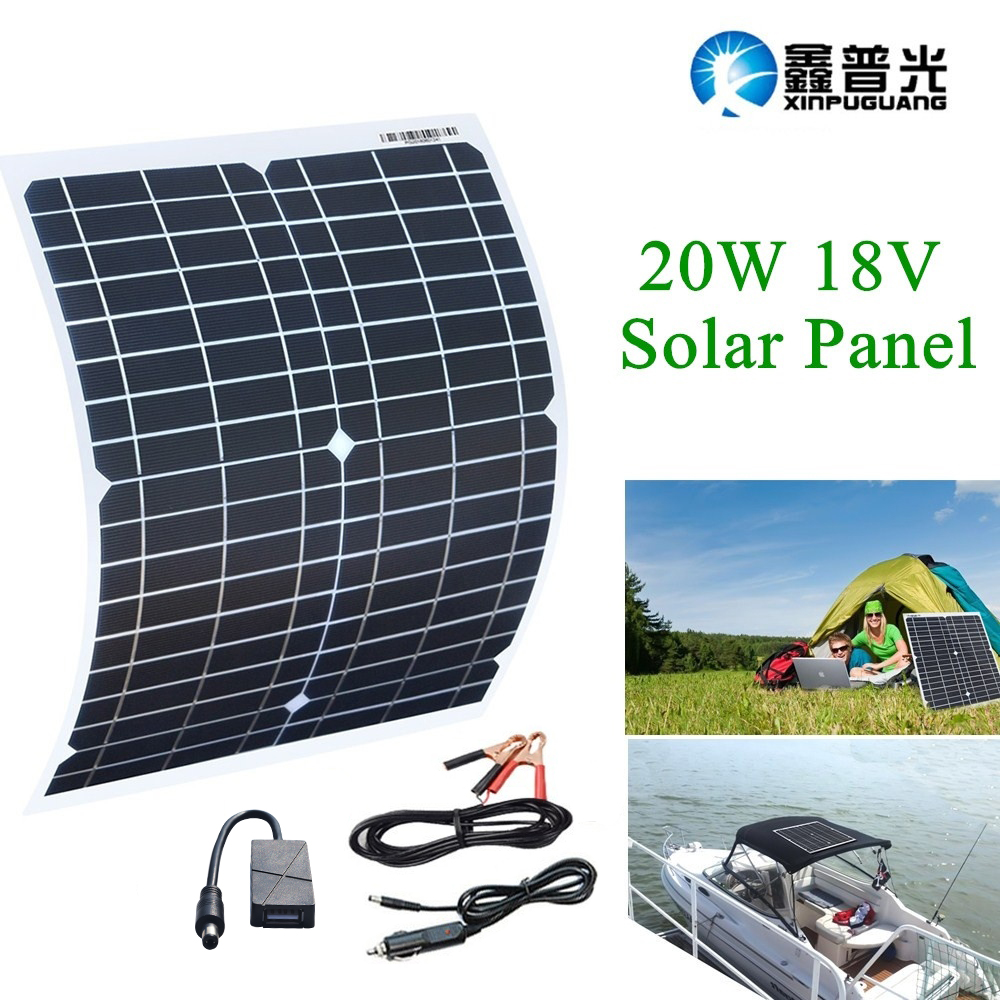 xinpuguang 18v 20w 5v usb monocrystalline solar panel with car charger for outdoor camping