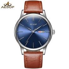 Luxus aesop uhr männer ultradünne dial saphir leder wasserdicht automatische maschine gold armbanduhr relogio maskuline