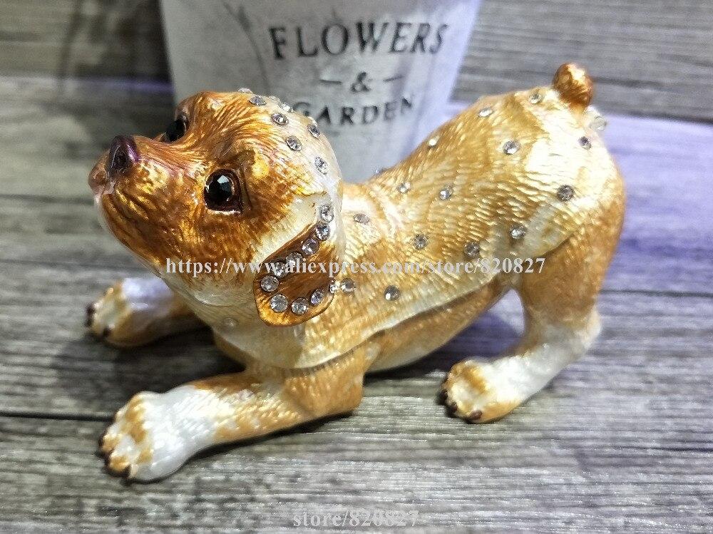 2018 Golden Dog TRINKET BOX Puppy Dog Figurine Rhinestone Enamel Dog Trinket Hinged Gift Jewelry Box Newest Dog Trinket dog