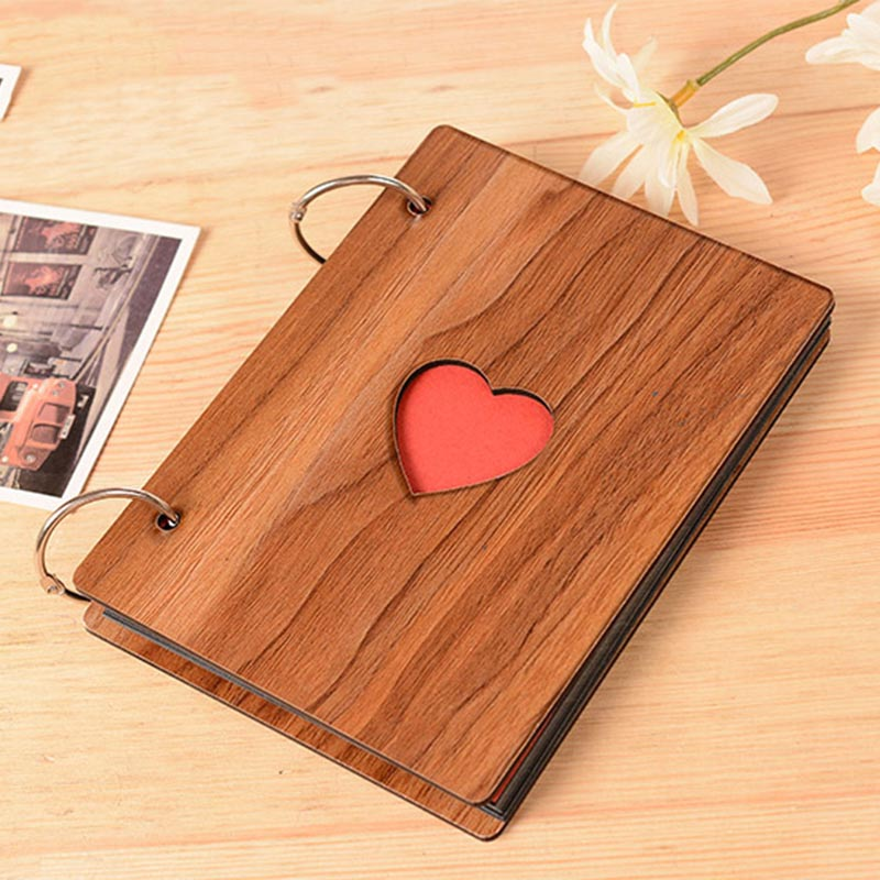 Hot 6 inch wooden cover Album creative DIY baby growth memory life photo embossed book wedding collections gifts