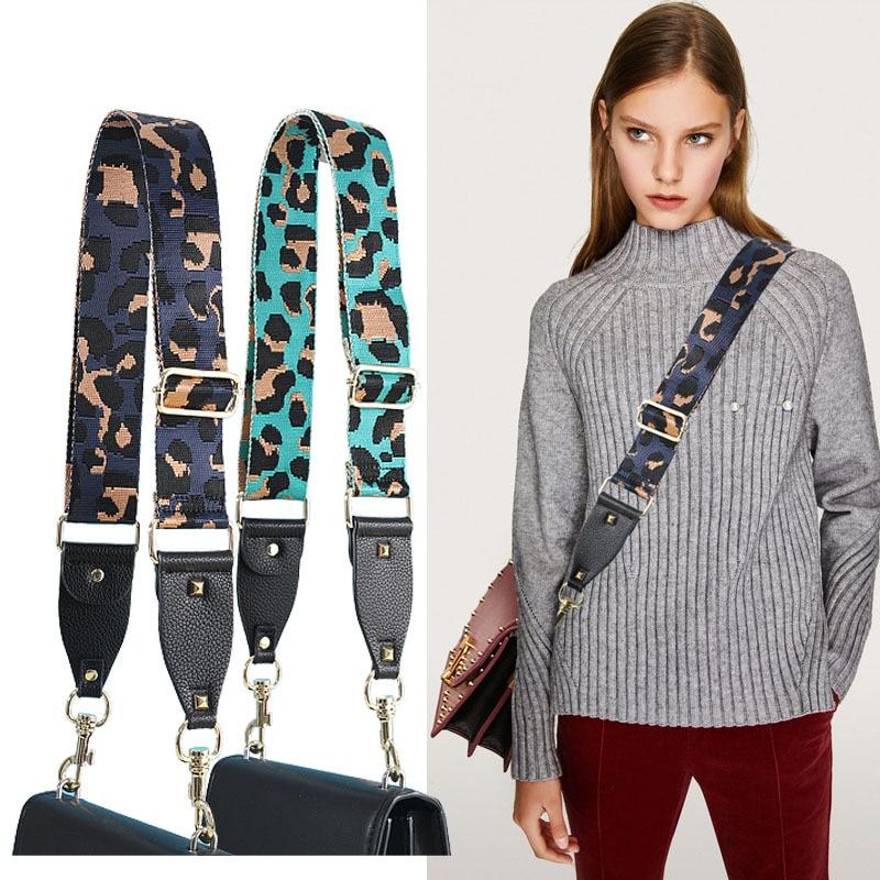 Adjustable Bag Shoulder Strap PU Wide Shoulder Bag Strap Replacement Strap Bag Belt Leopard Print Straps For Bags Correa Bolso