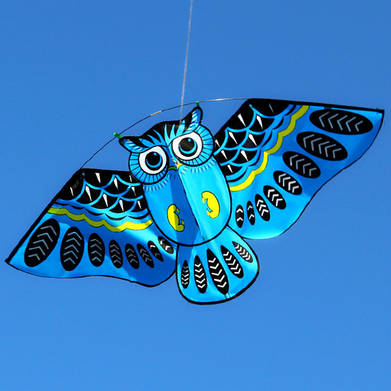 New 110*50cm Colorful Owl Kite With Kite Line Easy To Fly Kids Flying Kites Outdoor Toys Animal Kite Toy For Fun Children Gift