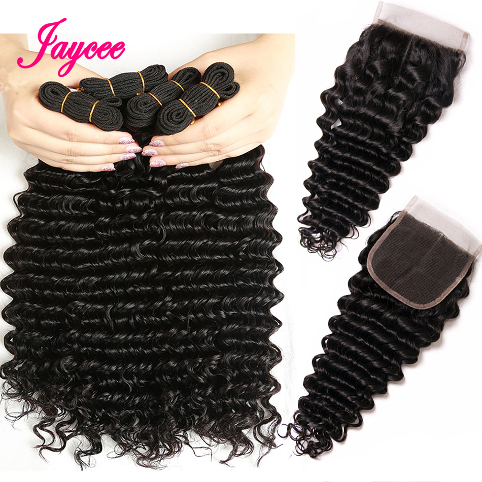 Jaycee Deep Wave Remy Human Hair 3 Bundles With Closure 1B# Color Brazilian Hair Extensions with Bundles 8-26 Inches