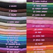 10 шт./партия, Блестящий универсальный хлопковый вуаль, макси, однотонный шарф, шаль, хиджаб, простые цвета, 180 см x 95 см