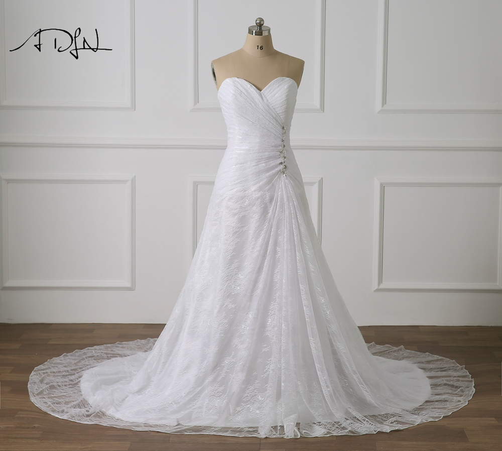 ADLN Plus Size Wedding Dresses With Beads Sweetheart Sleeveless Robe De Mariee  Lace Bridal Gown Customized