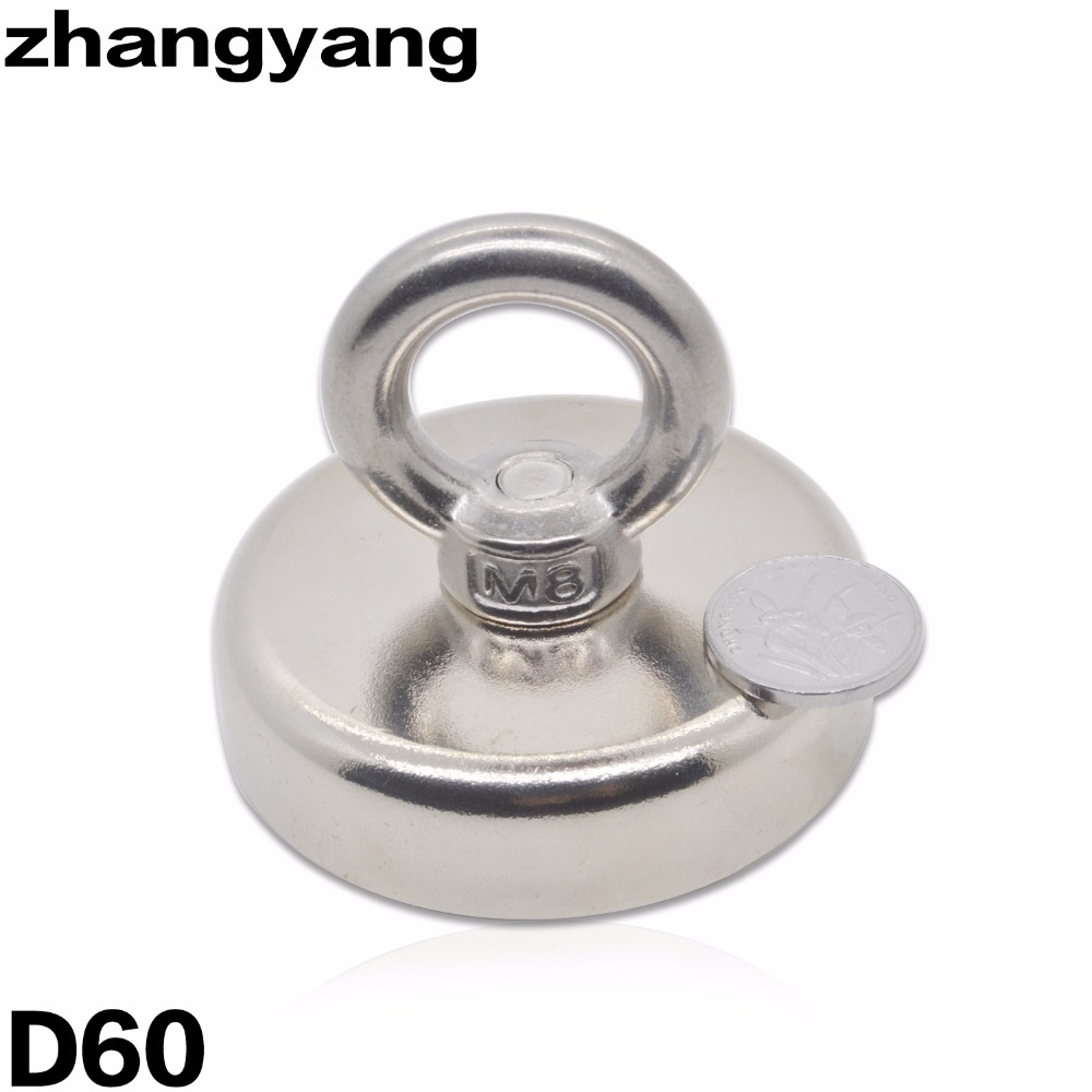 ZHANGYANG  Pulling Mounting D60mm strong powerful neodymium Magnetic Pot with ring fishing gear, deap sea salvage equipment 1piece 164kg magnetic pull force neodymium recovery fishing detecting magnet pot with a eyebolt antenna magnetic mounting base