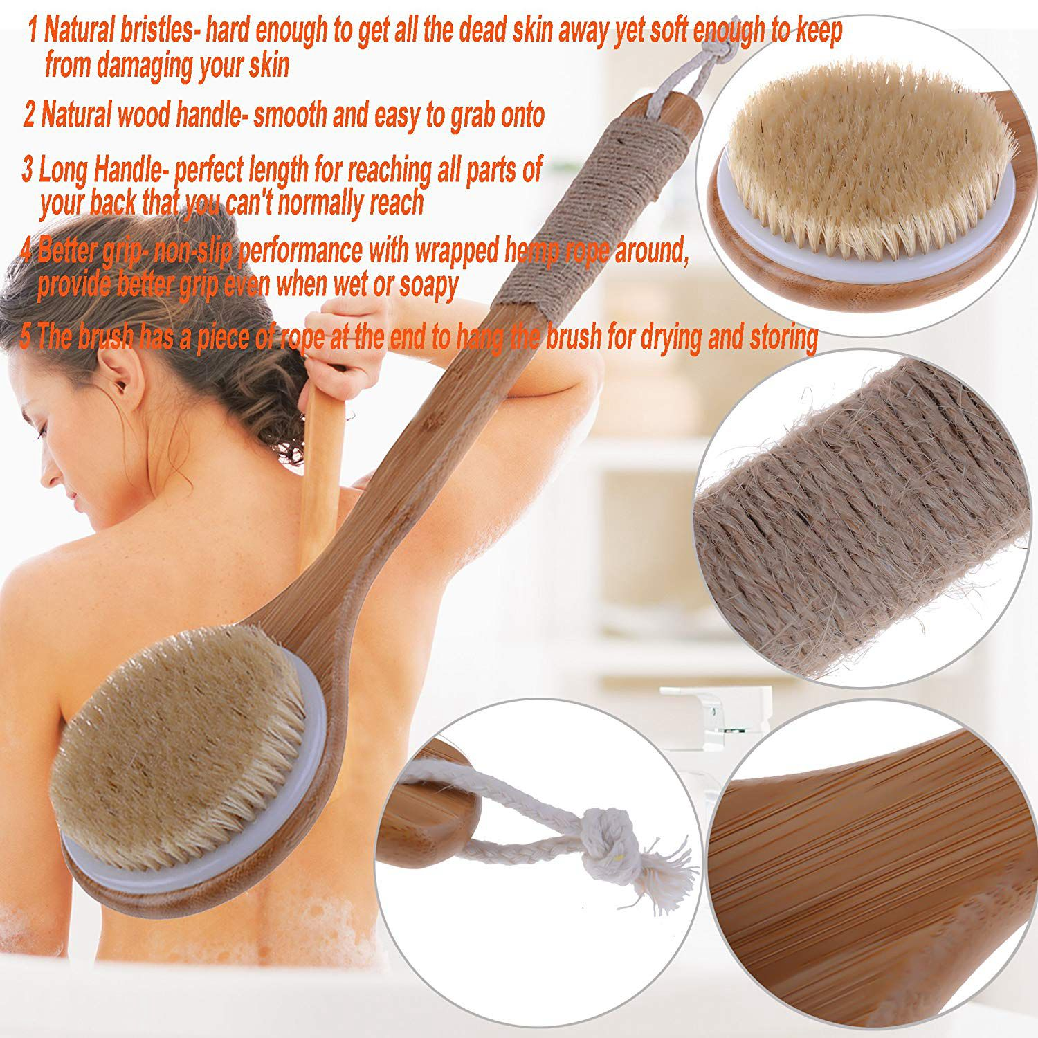 Hot Dry Skin Body Brush Bath Exfoliating Brush Natural Bristles Back Scrubber with Long Wooden Handle for Shower, Remove Dead Ladies Toiletries & Skin Care Male Grooming Shower Brush Toiletries cb5feb1b7314637725a2e7: wood color