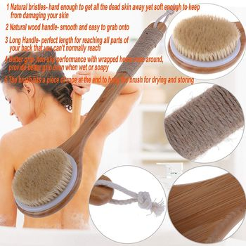 Hot Dry Skin Body Brush Bath Exfoliating Brush Natural Bristles Back Scrubber with Long Wooden Handle for Shower, Remove Dead multifunction body massage tools sided natural bristles scrubber wood long handle bath body brush scrubber relaxation tools tn