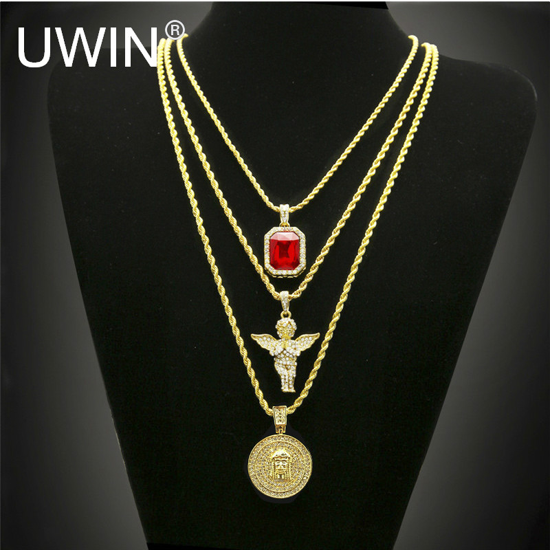 Hip Hop Gold Color Necklace Iced Out Rhinestone Crystal Jewelry Necklace Set With Angel Jesus Pendant Necklace Chain Hot Sale rhinestone studded chain necklace