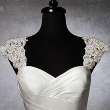 Романтическая изящная, украшенная бусинами, со съемным рукавом, кружевное болеро Свадебный жакет