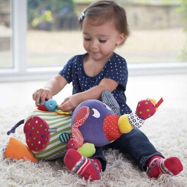 아기 장난감 0 6 12 개월 아기 소년을위한 봉제 코끼리 교육 완구 침대 유모차에 매달려 1 년