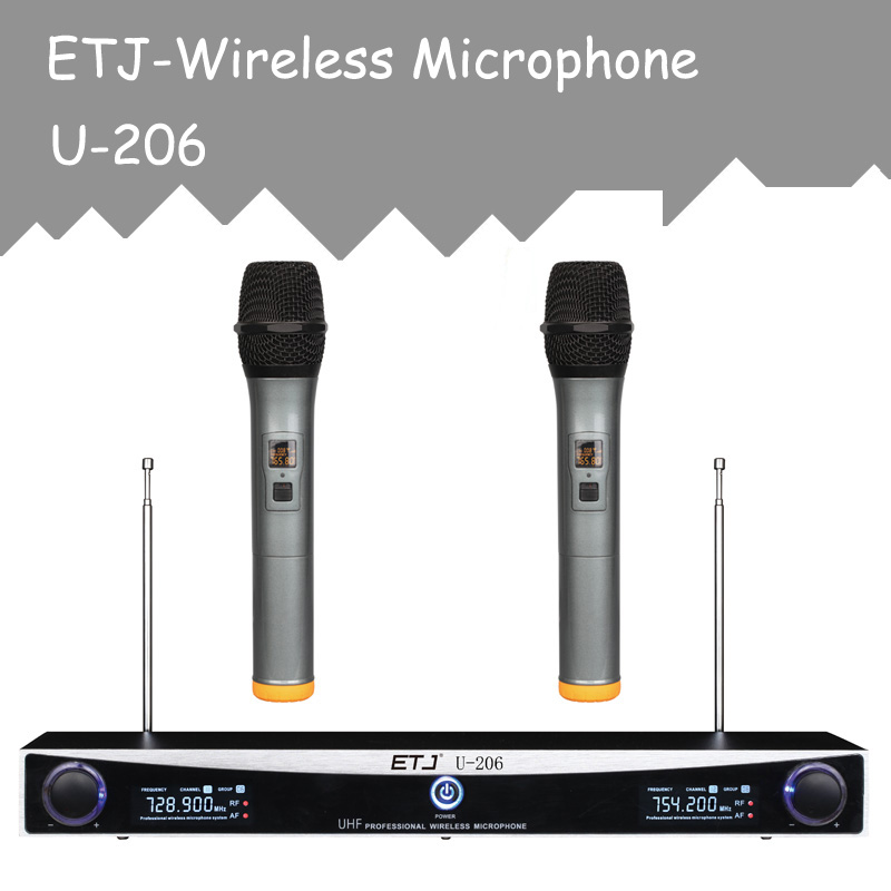 ETJ Brand Changable VHF Wireless Microphone Handheld Bodypack Headset Lavalier Microphone U-206