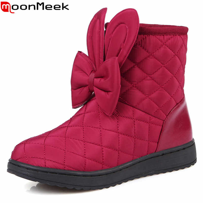 MoonMeek moda siyah beyaz şarap kırmızı kadın botları Aşağı su geçirmez sıcak Tutmak kış kar botları ilmek düz yarım çizmeler