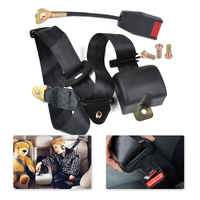 Car Auto SUV Truck 3 Point Retractable Seat Lap Belt Safety Strap Adjustable Security Belt For