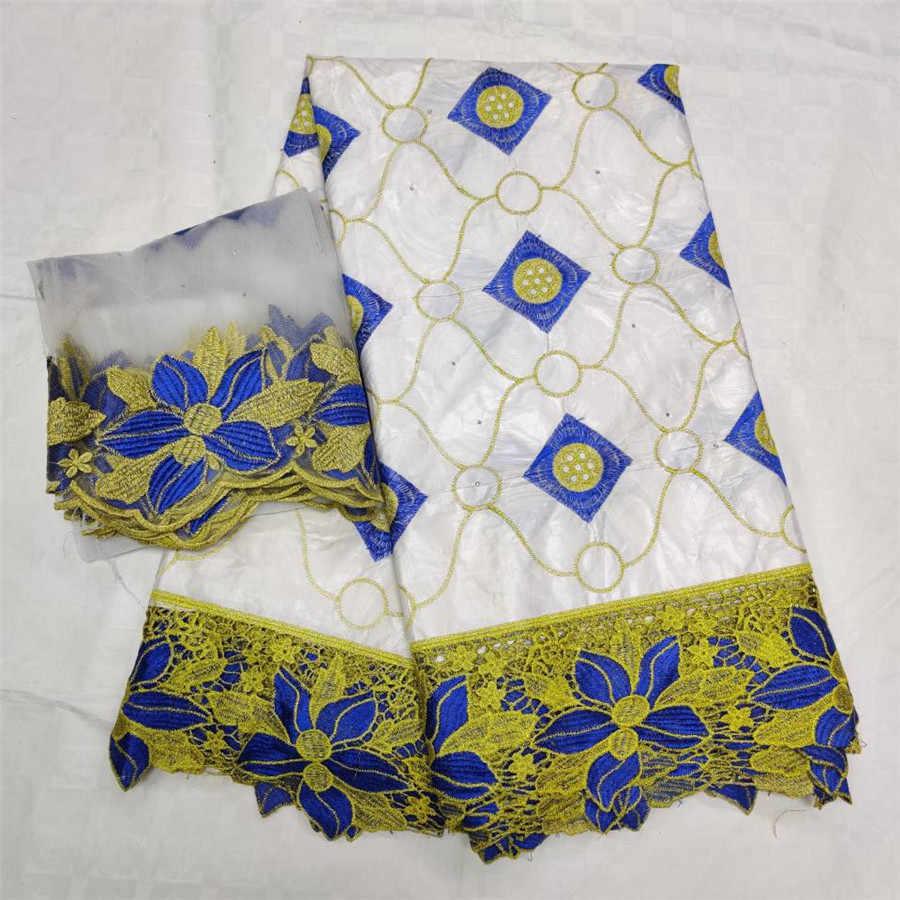 Tessuto di pizzo giallo 100% cotone bazin riche getzner 2019 nouveau tissu tessuto di pizzo guipure cavo africano per la cerimonia nuziale 5 + 2 yards/lot