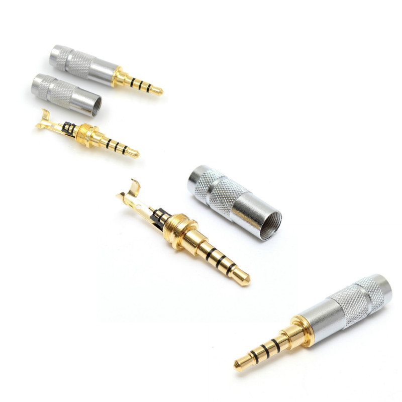 4 Pole 3.5mm Stereo Headphone Male Plug Jack Audio Solders Connector4 Pole 3.5mm Stereo Headphone Male Plug Jack Audio Solders Connector