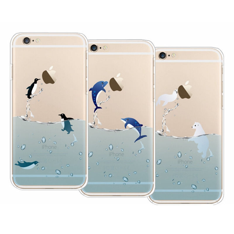 Vivid Ocean Park Dolphin Penguin Pattern TPU Soft Back Cover Case for iPhone 6 6s 4.7 inch