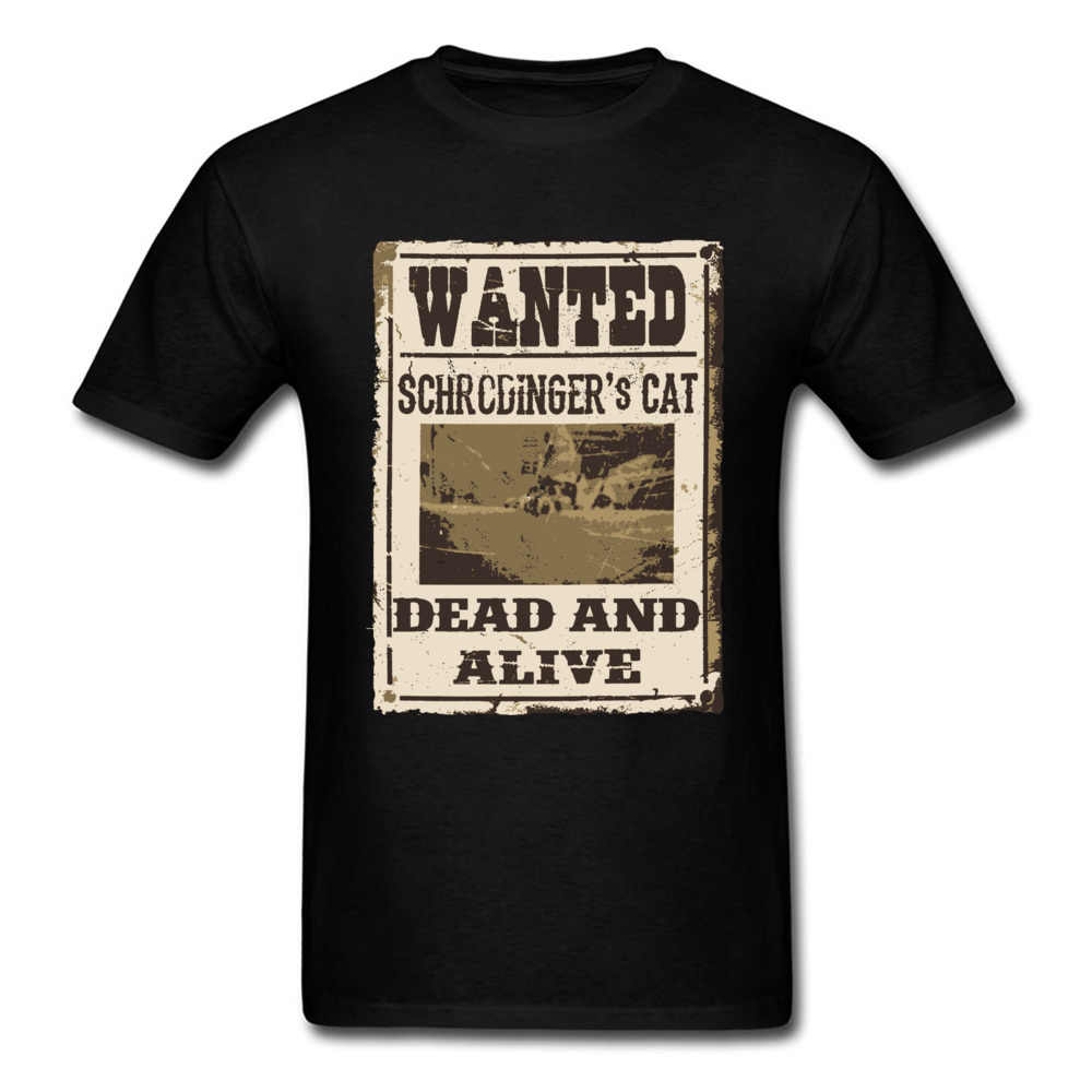 38f45d29d Retro Old Newspaper Print T Shirt For Men Schrodinger's Cat Dead And Alive  Wanted Poster Tshirt
