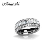 AINOUSHI Luxury Princess Cut Band Rings 3 Drills Stones 925 Sterling Silver Square Stone Ring Party Ring SONA Jewelry for Women