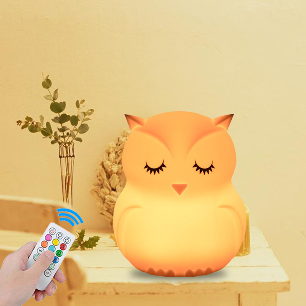Touch Sensor 9 Colors Owl LED Night Light Remote Control RGB Timer Silicone USB Rechargeable Bedroom Bedside Lamp for Children