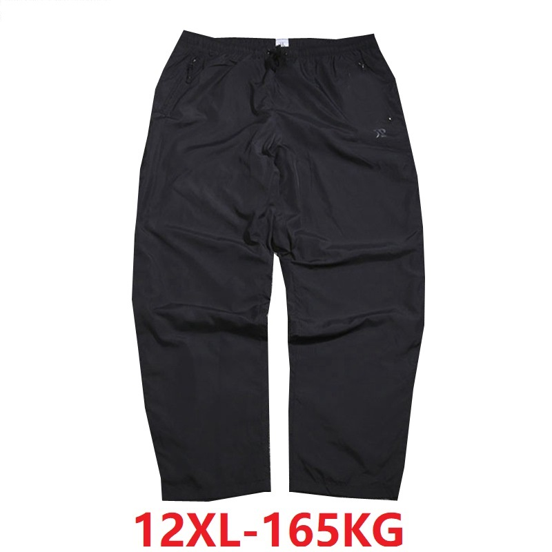 10XL 12XL Summer Men Pants 8XL 9XL Black Color Plus Size Big 8XL Breathable Loose Waterproof Pants 150KG 160KG Straight Trousers