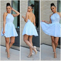 Sexy Backless Cocktail Dresses Light Sky Blue Chiffon Lace robe de cocktail Short Mini Party Gowns Lace Formal Dress