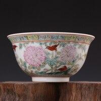 5 Античная QingDynasty фарфоровая миска, пастельных цветов золото колокол чашу, ручная роспись ремесла, лучшая коллекция и украшения